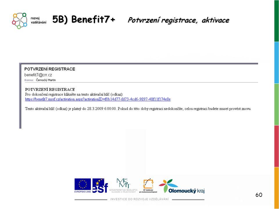 60 5B) Benefit7+ Potvrzení registrace, aktivace