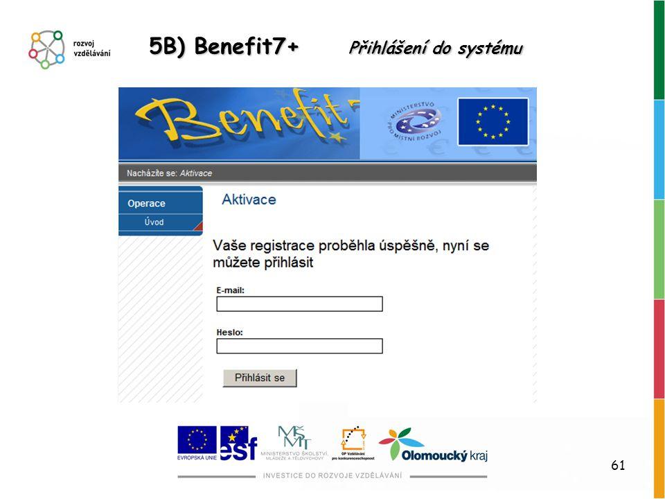 61 5B) Benefit7+ Přihlášení do systému