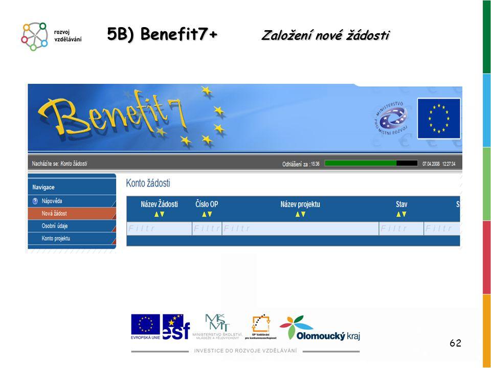 62 5B) Benefit7+ Založení nové žádosti