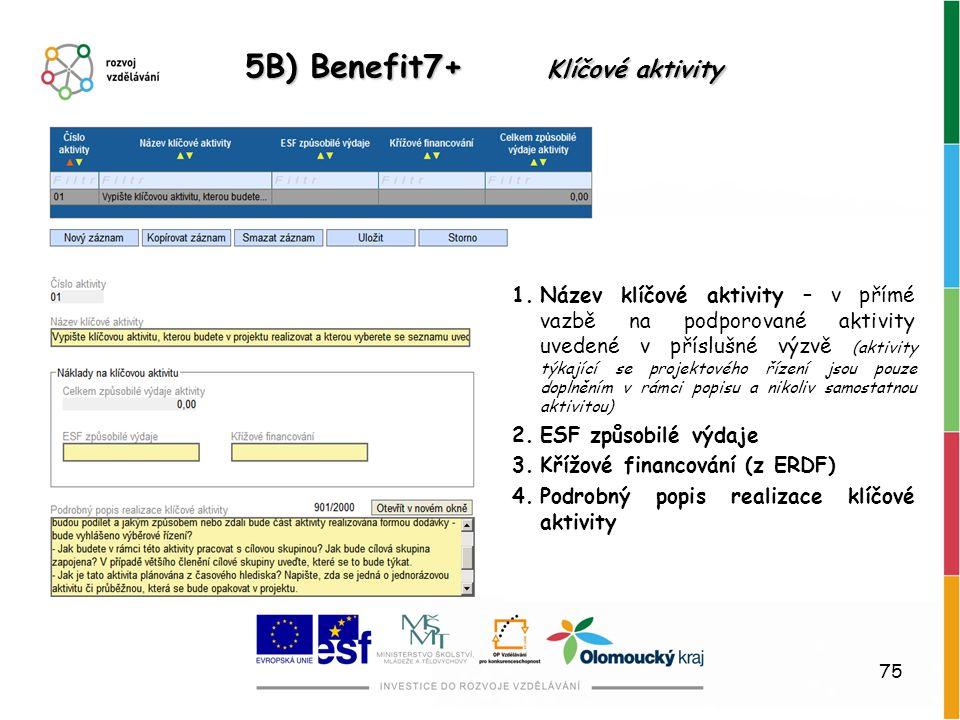 75 5B) Benefit7+ Klíčové aktivity 1.Název klíčové aktivity – v přímé vazbě na podporované aktivity uvedené v příslušné výzvě (aktivity týkající se pro