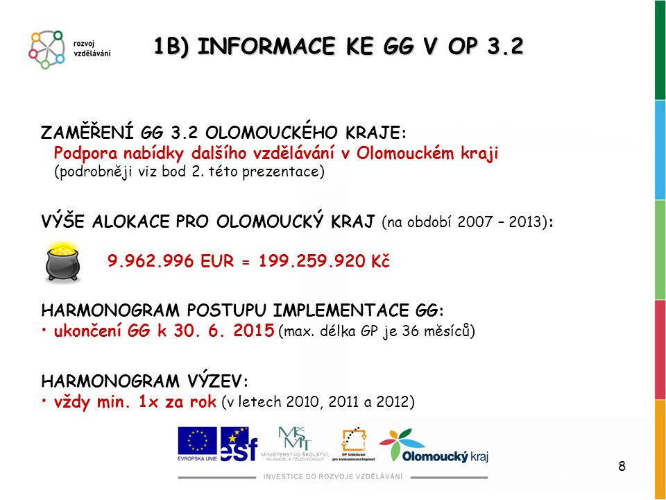 8 1B) INFORMACE KE GG V OP 3.2 ZAMĚŘENÍ GG 3.2 OLOMOUCKÉHO KRAJE: Podpora nabídky dalšího vzdělávání v Olomouckém kraji (podrobněji viz bod 2. této pr