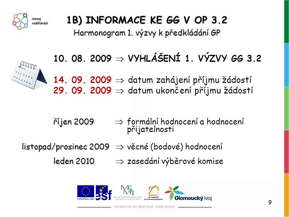 9 Harmonogram 1. výzvy k předkládání GP 1B) INFORMACE KE GG V OP 3.2 10. 08. 2009  VYHLÁŠENÍ 1. VÝZVY GG 3.2 14. 09. 2009  datum zahájení příjmu žád