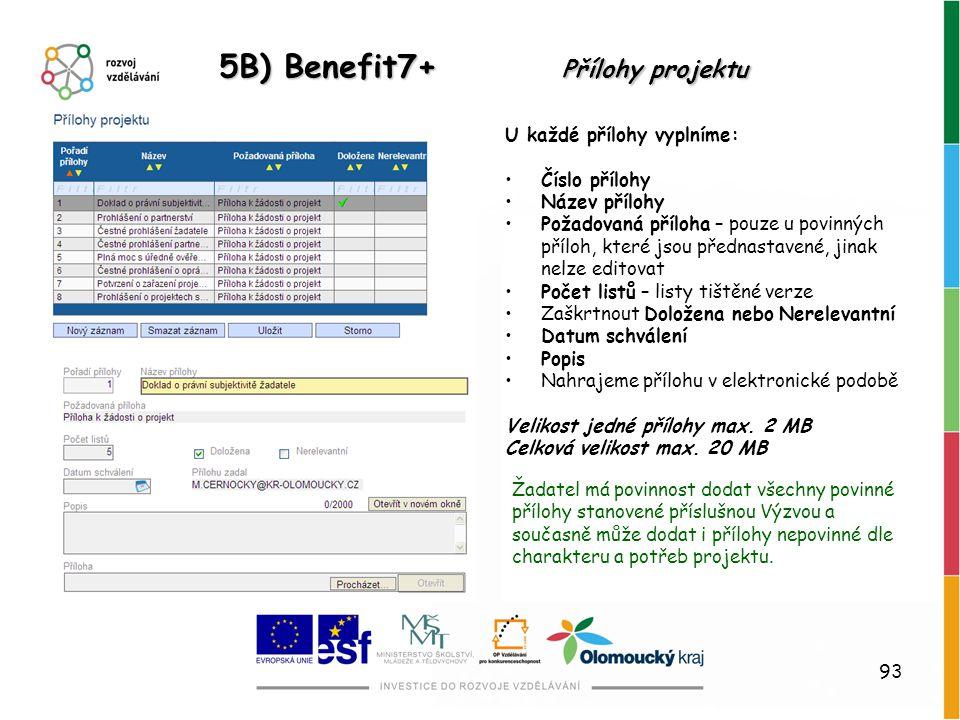 93 5B) Benefit7+ Přílohy projektu U každé přílohy vyplníme: Číslo přílohy Název přílohy Požadovaná příloha – pouze u povinných příloh, které jsou před
