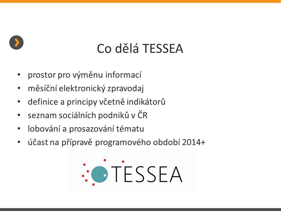 Co dělá TESSEA prostor pro výměnu informací měsíční elektronický zpravodaj definice a principy včetně indikátorů seznam sociálních podniků v ČR lobová