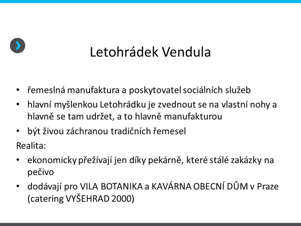 Letohrádek Vendula řemeslná manufaktura a poskytovatel sociálních služeb hlavní myšlenkou Letohrádku je zvednout se na vlastní nohy a hlavně se tam ud