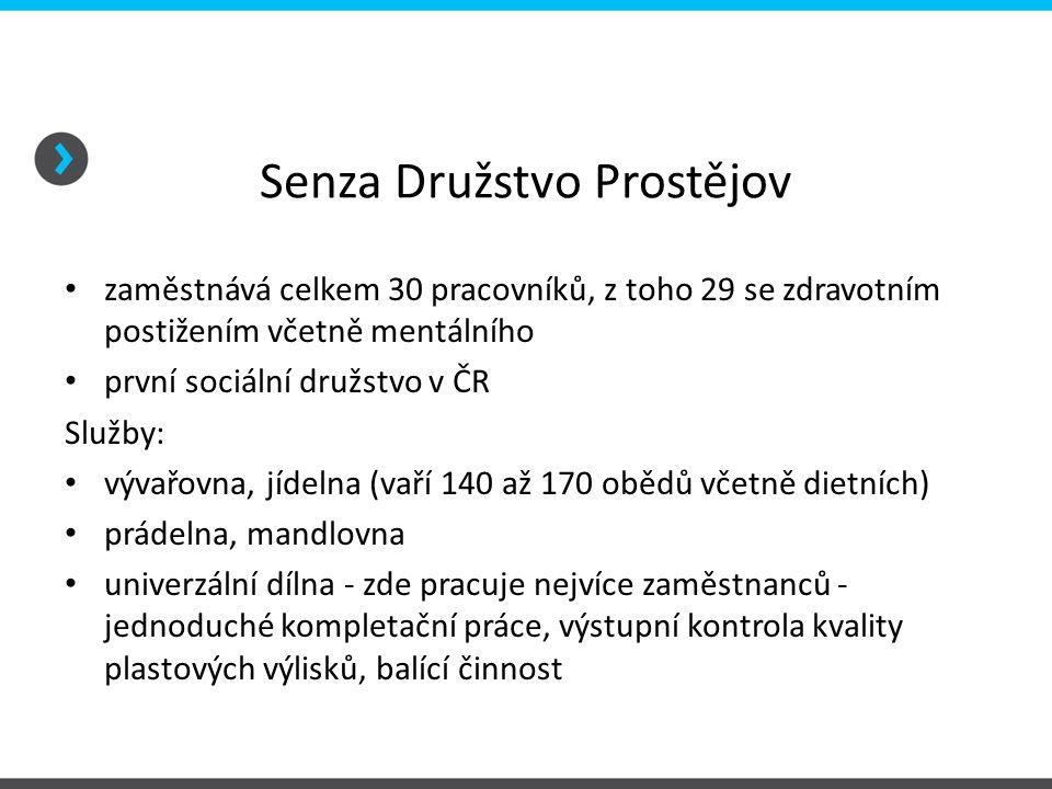 Senza Družstvo Prostějov zaměstnává celkem 30 pracovníků, z toho 29 se zdravotním postižením včetně mentálního první sociální družstvo v ČR Služby: vý