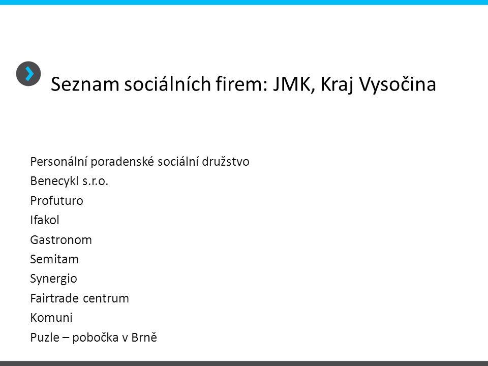 Seznam sociálních firem: JMK, Kraj Vysočina Personální poradenské sociální družstvo Benecykl s.r.o. Profuturo Ifakol Gastronom Semitam Synergio Fairtr