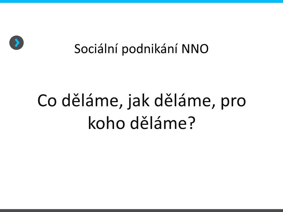 Sociální podnikání NNO Co děláme, jak děláme, pro koho děláme?