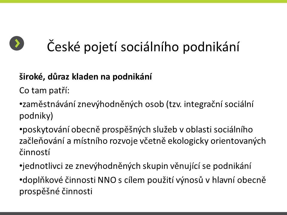 České pojetí sociálního podnikání široké, důraz kladen na podnikání Co tam patří: zaměstnávání znevýhodněných osob (tzv. integrační sociální podniky)