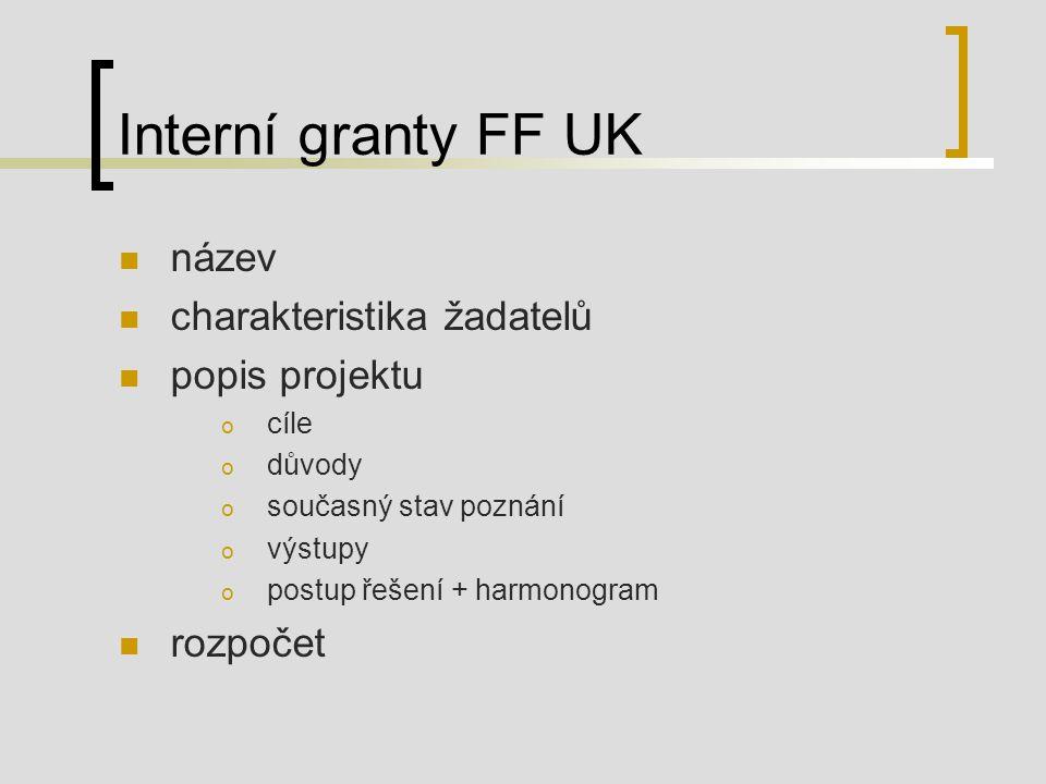 Interní granty FF UK název charakteristika žadatelů popis projektu o cíle o důvody o současný stav poznání o výstupy o postup řešení + harmonogram rozpočet