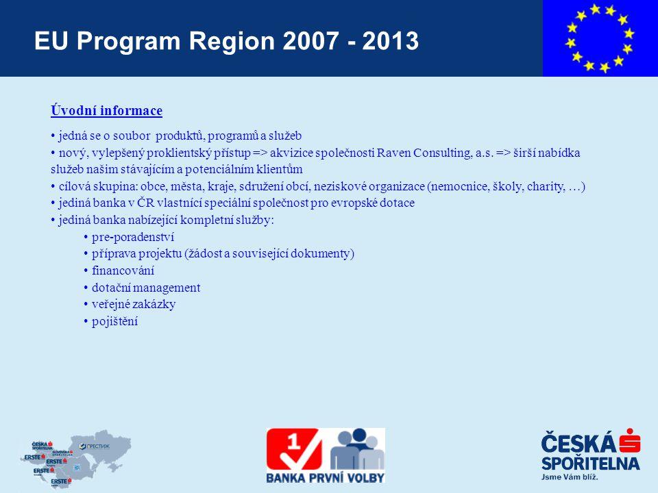 EU Program Region 2007 - 2013 Úvodní informace jedná se o soubor produktů, programů a služeb nový, vylepšený proklientský přístup => akvizice společnosti Raven Consulting, a.s.