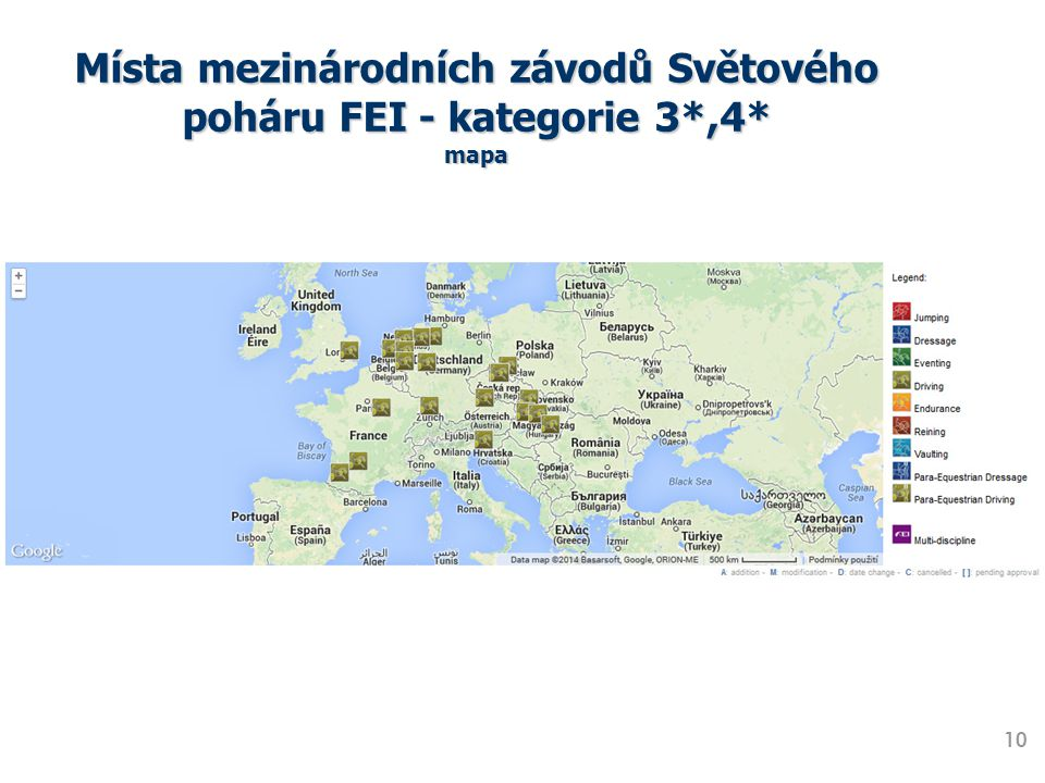Místa mezinárodních závodů Světového poháru FEI - kategorie 3*,4* mapa 10