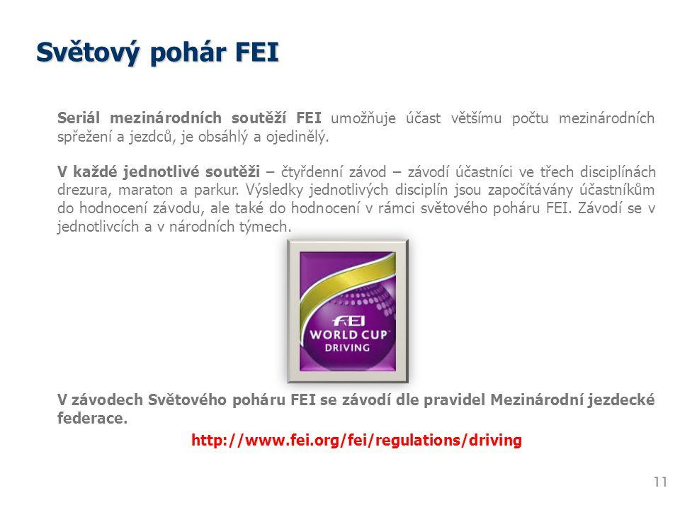 Světový pohár FEI 11 Seriál mezinárodních soutěží FEI umožňuje účast většímu počtu mezinárodních spřežení a jezdců, je obsáhlý a ojedinělý. V každé je
