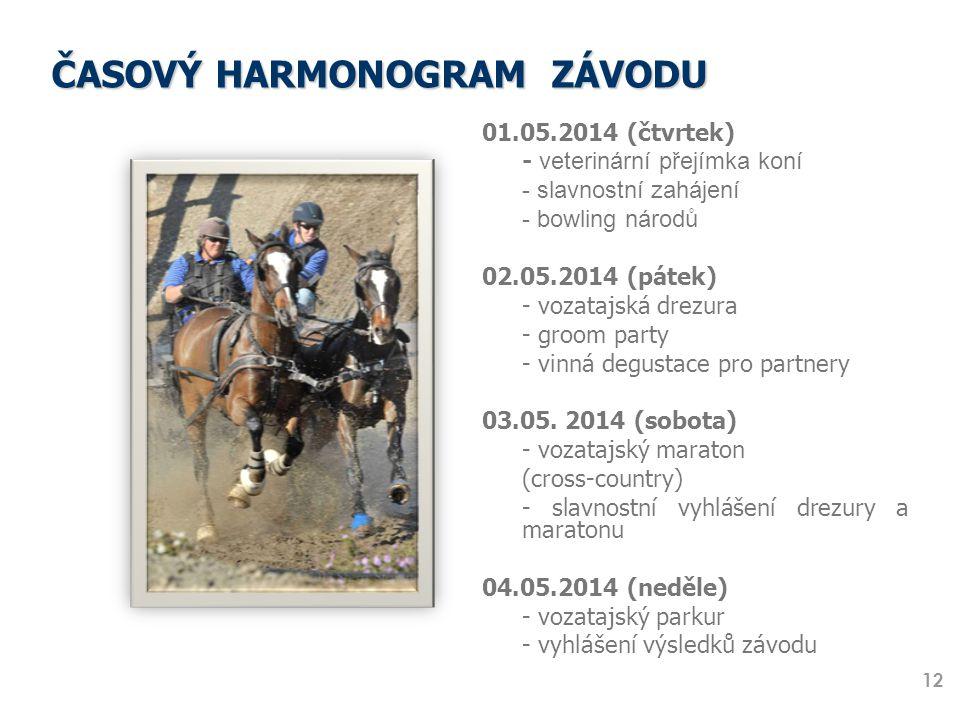 ČASOVÝ HARMONOGRAM ZÁVODU 01.05.2014 (čtvrtek) - veterinární přejímka koní - slavnostní zahájení - bowling národů 02.05.2014 (pátek) - vozatajská drez