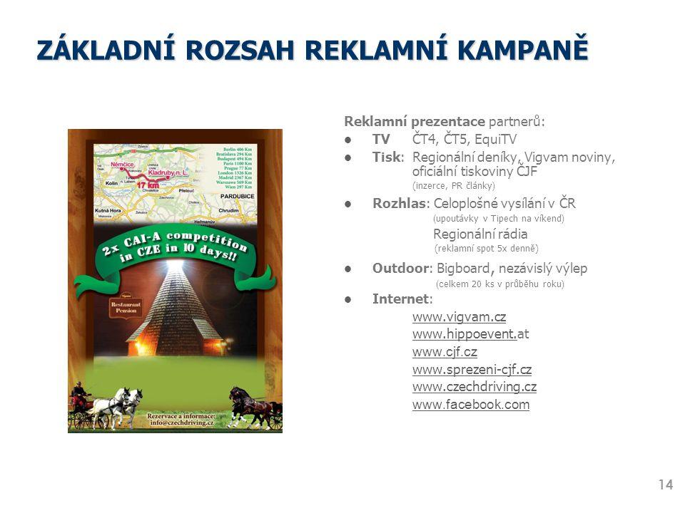 ZÁKLADNÍ ROZSAH REKLAMNÍ KAMPANĚ Reklamní prezentace partnerů: TV ČT4, ČT5, EquiTV Tisk: Regionální deníky, Vigvam noviny, oficiální tiskoviny ČJF (in