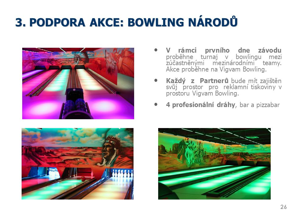 3. PODPORA AKCE: BOWLING NÁRODŮ V rámci prvního dne závodu proběhne turnaj v bowlingu mezi zúčastněnými mezinárodními teamy. Akce proběhne na Vigvam B