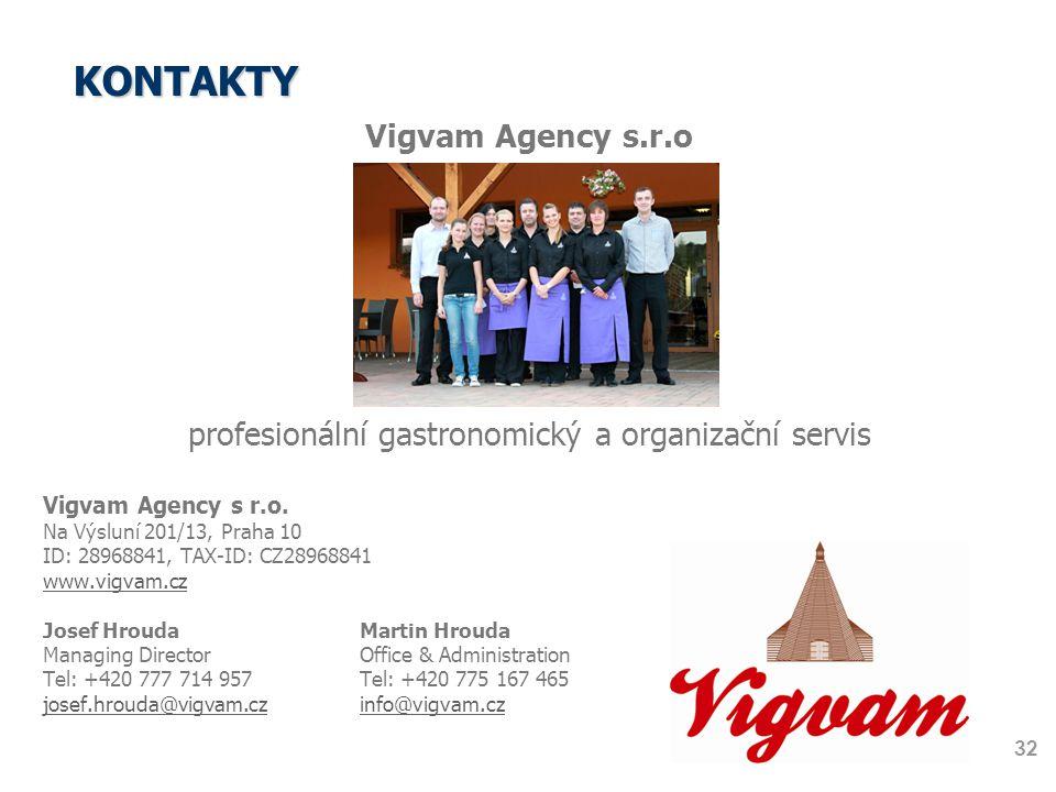 KONTAKTY 32 Vigvam Agency s.r.o profesionální gastronomický a organizační servis Vigvam Agency s r.o. Na Výsluní 201/13, Praha 10 ID: 28968841, TAX-ID
