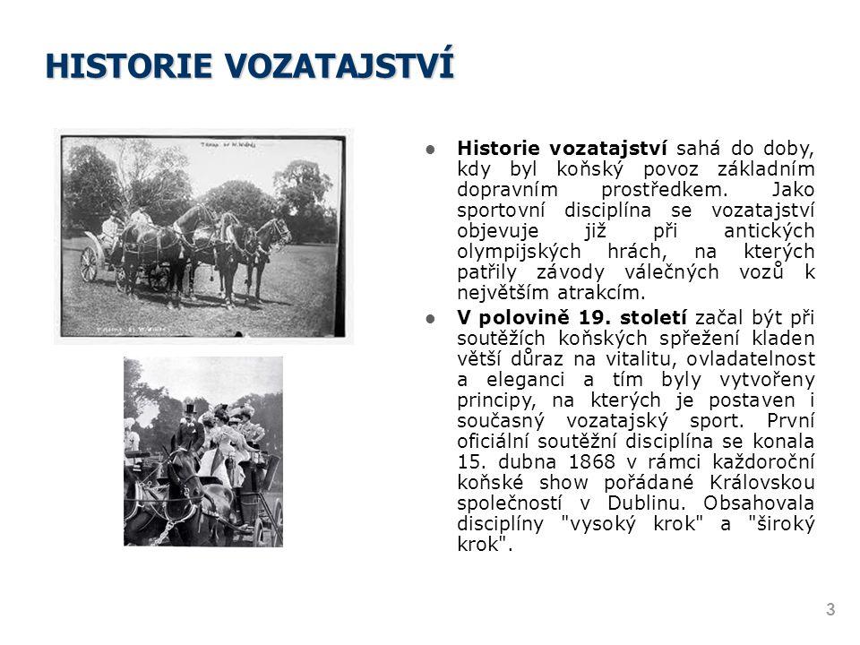 HISTORIE VOZATAJSTVÍ Historie vozatajství sahá do doby, kdy byl koňský povoz základním dopravním prostředkem. Jako sportovní disciplína se vozatajství