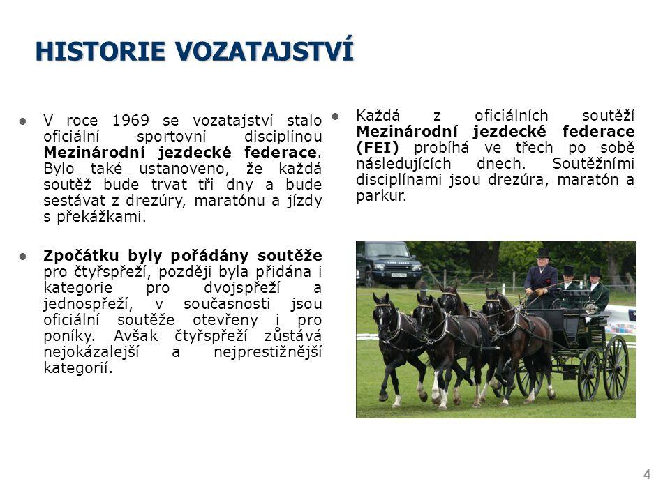 HISTORIE VOZATAJSTVÍ Každá z oficiálních soutěží Mezinárodní jezdecké federace (FEI) probíhá ve třech po sobě následujících dnech. Soutěžními disciplí