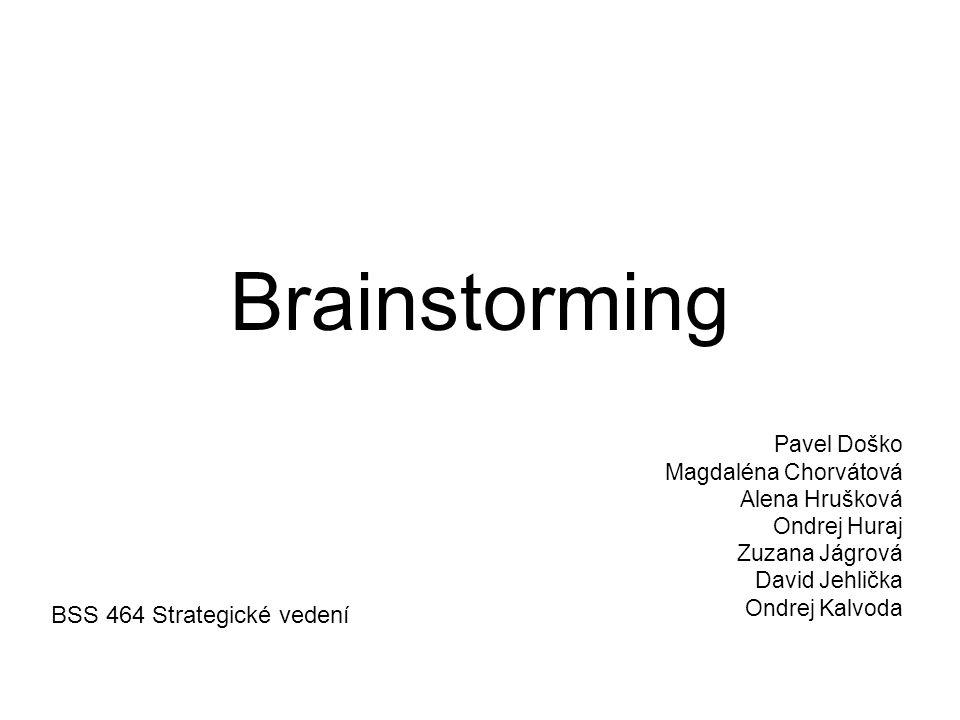 Brainstorming v BSS –V BSS je brainstorming využíván a je možné využít k: prediktivnímu výzkumu analýze hrozeb a rizik explorančnímu výzkumu jako pomocnou metodu v rámci výzkumu a jeho fází podpoře manažerských činností