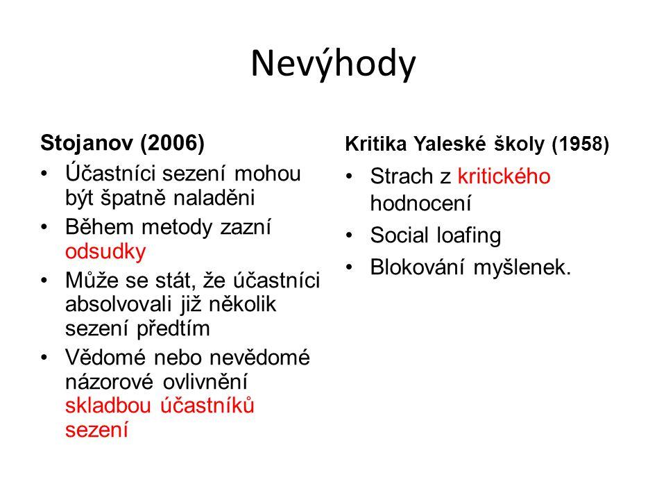 Nevýhody Stojanov (2006) Účastníci sezení mohou být špatně naladěni Během metody zazní odsudky Může se stát, že účastníci absolvovali již několik seze