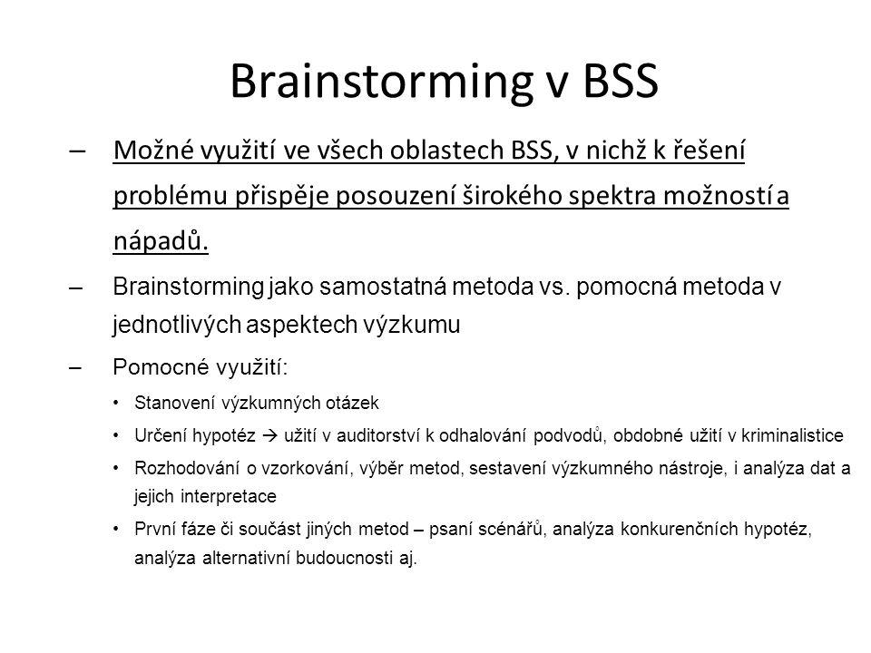 Brainstorming v BSS – Možné využití ve všech oblastech BSS, v nichž k řešení problému přispěje posouzení širokého spektra možností a nápadů. –Brainsto