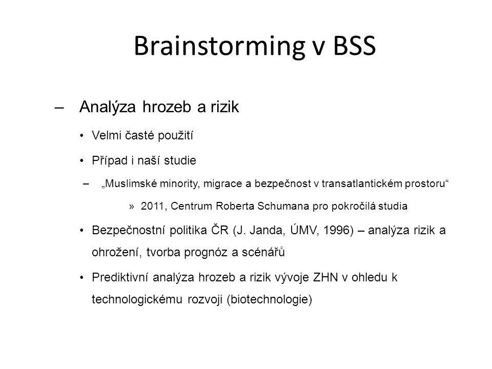 """Brainstorming v BSS –Analýza hrozeb a rizik Velmi časté použití Případ i naší studie –""""Muslimské minority, migrace a bezpečnost v transatlantickém pro"""