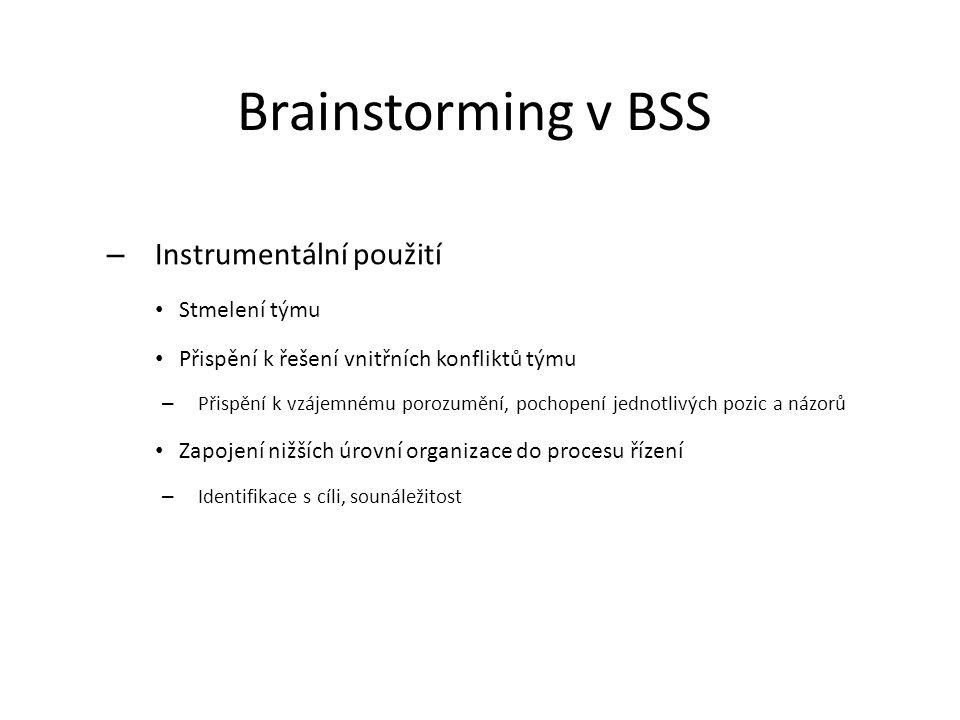 Brainstorming v BSS – Instrumentální použití Stmelení týmu Přispění k řešení vnitřních konfliktů týmu – Přispění k vzájemnému porozumění, pochopení je