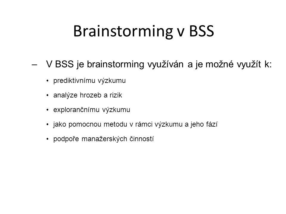 Brainstorming v BSS –V BSS je brainstorming využíván a je možné využít k: prediktivnímu výzkumu analýze hrozeb a rizik explorančnímu výzkumu jako pomo