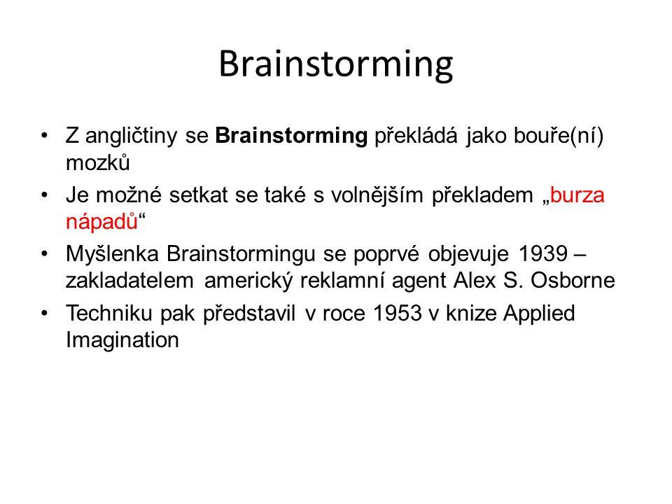 """Brainstorming Z angličtiny se Brainstorming překládá jako bouře(ní) mozků Je možné setkat se také s volnějším překladem """"burza nápadů"""" Myšlenka Brains"""
