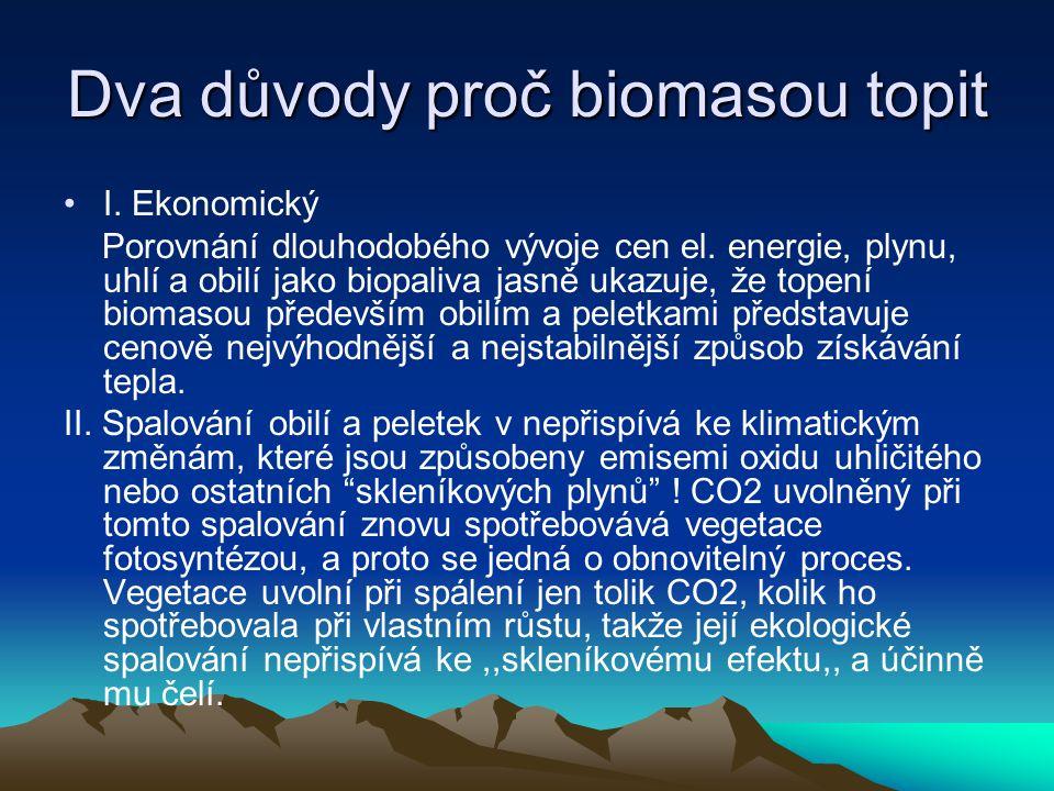 Dva důvody proč biomasou topit I. Ekonomický Porovnání dlouhodobého vývoje cen el. energie, plynu, uhlí a obilí jako biopaliva jasně ukazuje, že topen