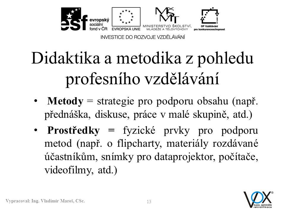 Didaktika a metodika z pohledu profesního vzdělávání Metody = strategie pro podporu obsahu (např. přednáška, diskuse, práce v malé skupině, atd.) Pros