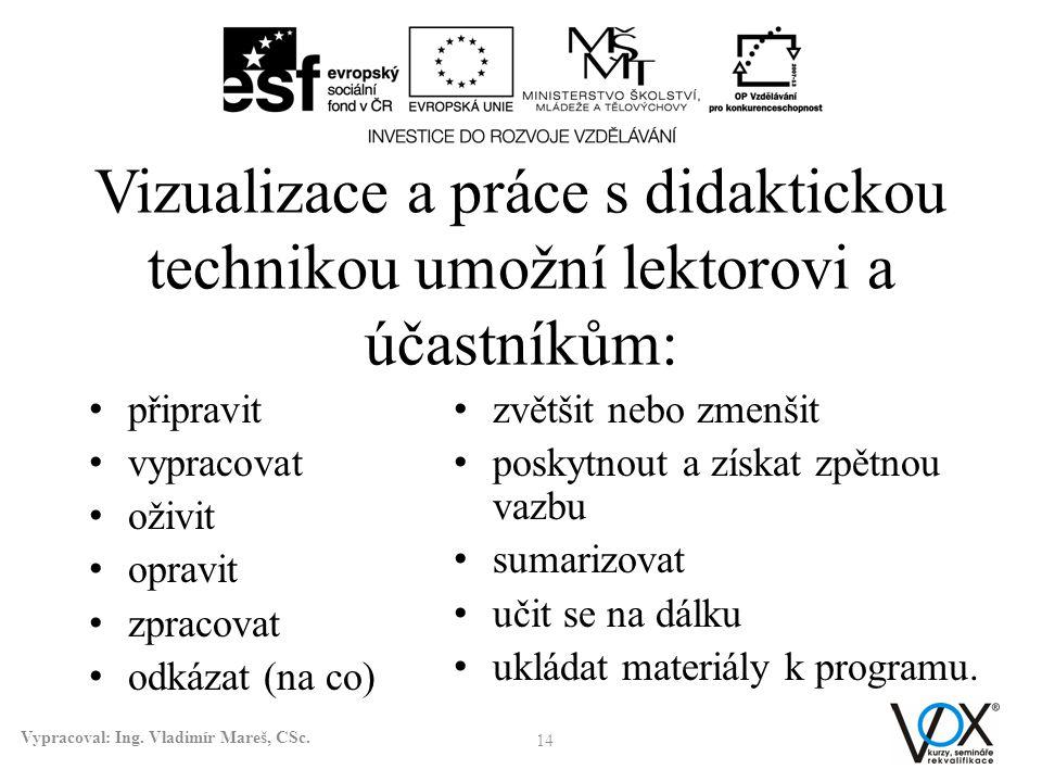 Vizualizace a práce s didaktickou technikou umožní lektorovi a účastníkům: připravit vypracovat oživit opravit zpracovat odkázat (na co) 14 Vypracoval