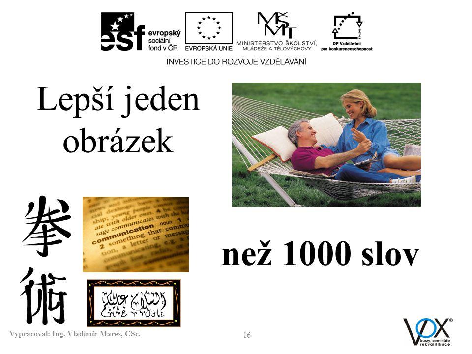 16 Vypracoval: Ing. Vladimír Mareš, CSc. než 1000 slov Lepší jeden obrázek