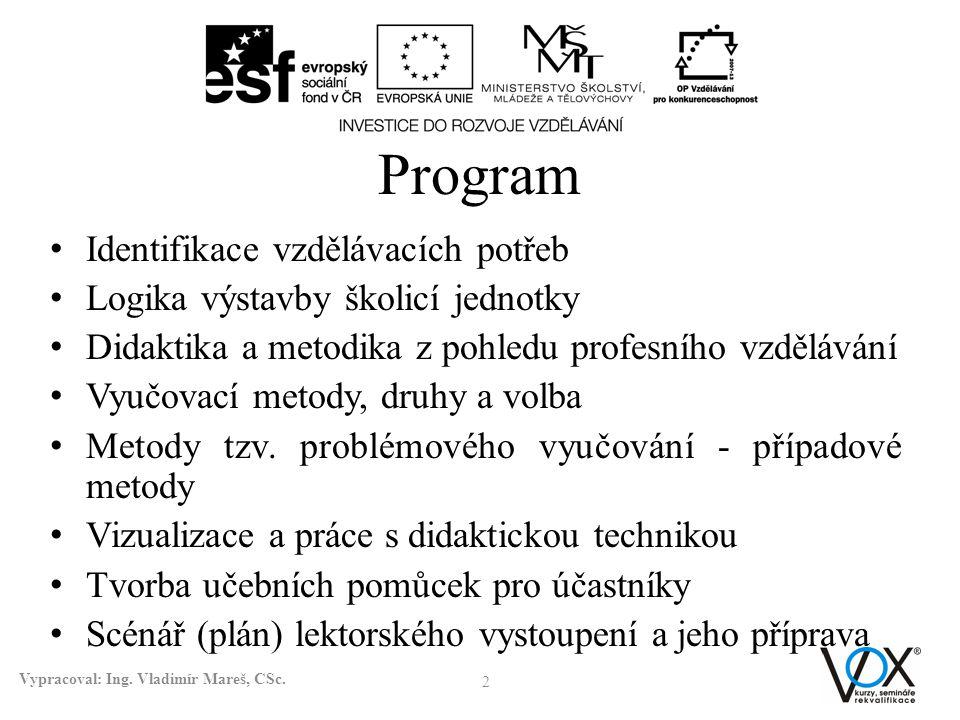 Program Identifikace vzdělávacích potřeb Logika výstavby školicí jednotky Didaktika a metodika z pohledu profesního vzdělávání Vyučovací metody, druhy