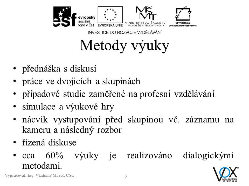 Metody výuky přednáška s diskusí práce ve dvojicích a skupinách případové studie zaměřené na profesní vzdělávání simulace a výukové hry nácvik vystupo