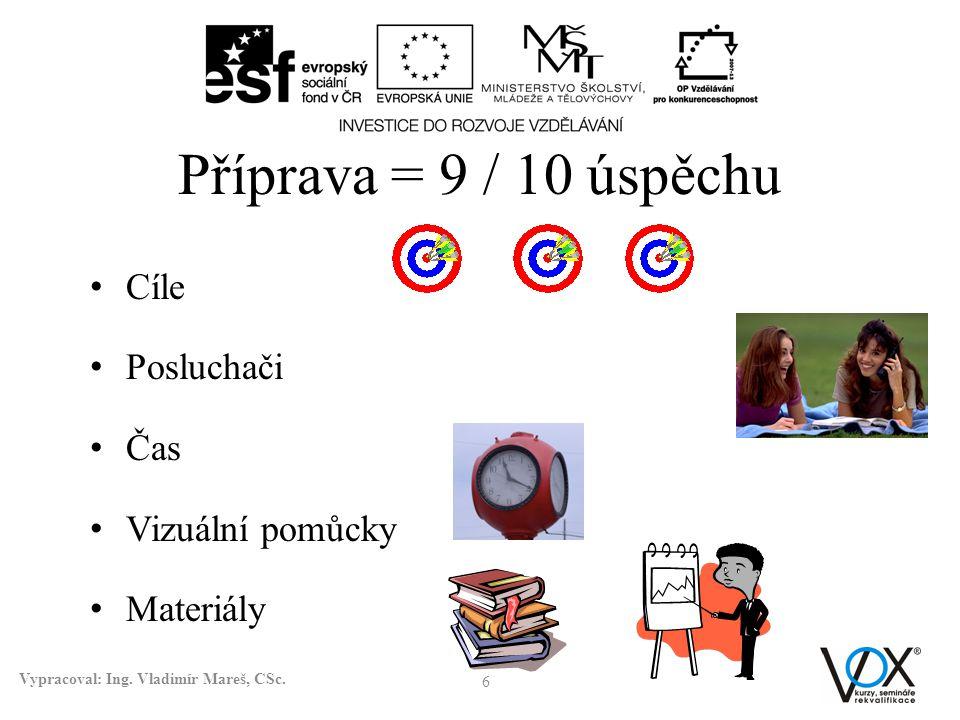 Příprava = 9 / 10 úspěchu Cíle Posluchači Čas Vizuální pomůcky Materiály 6 Vypracoval: Ing. Vladimír Mareš, CSc.