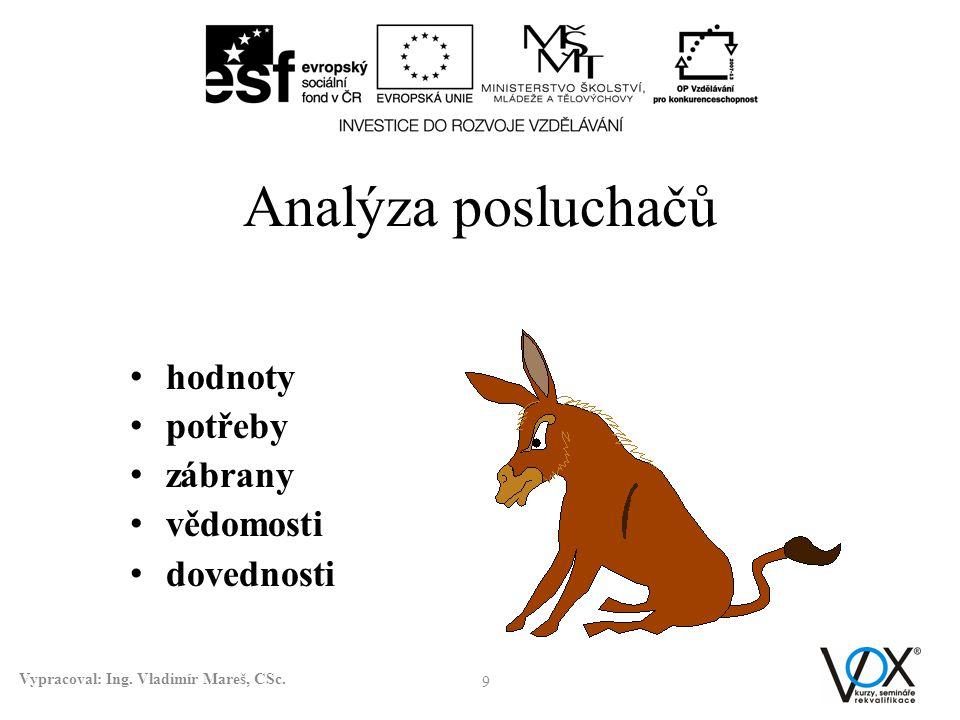 Analýza posluchačů hodnoty potřeby zábrany vědomosti dovednosti 9 Vypracoval: Ing. Vladimír Mareš, CSc.