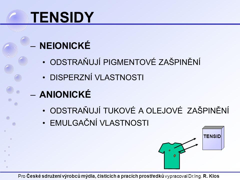 Pro České sdružení výrobců mýdla, čisticích a pracích prostředků vypracoval Dr.Ing. R. Klos TENSIDY TENSID –NEIONICKÉ ODSTRAŇUJÍ PIGMENTOVÉ ZAŠPINĚNÍ