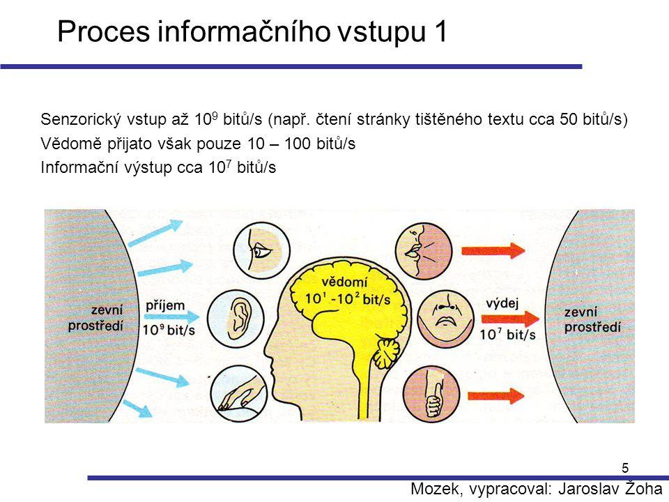 5 Proces informačního vstupu 1 Senzorický vstup až 10 9 bitů/s (např. čtení stránky tištěného textu cca 50 bitů/s) Vědomě přijato však pouze 10 – 100