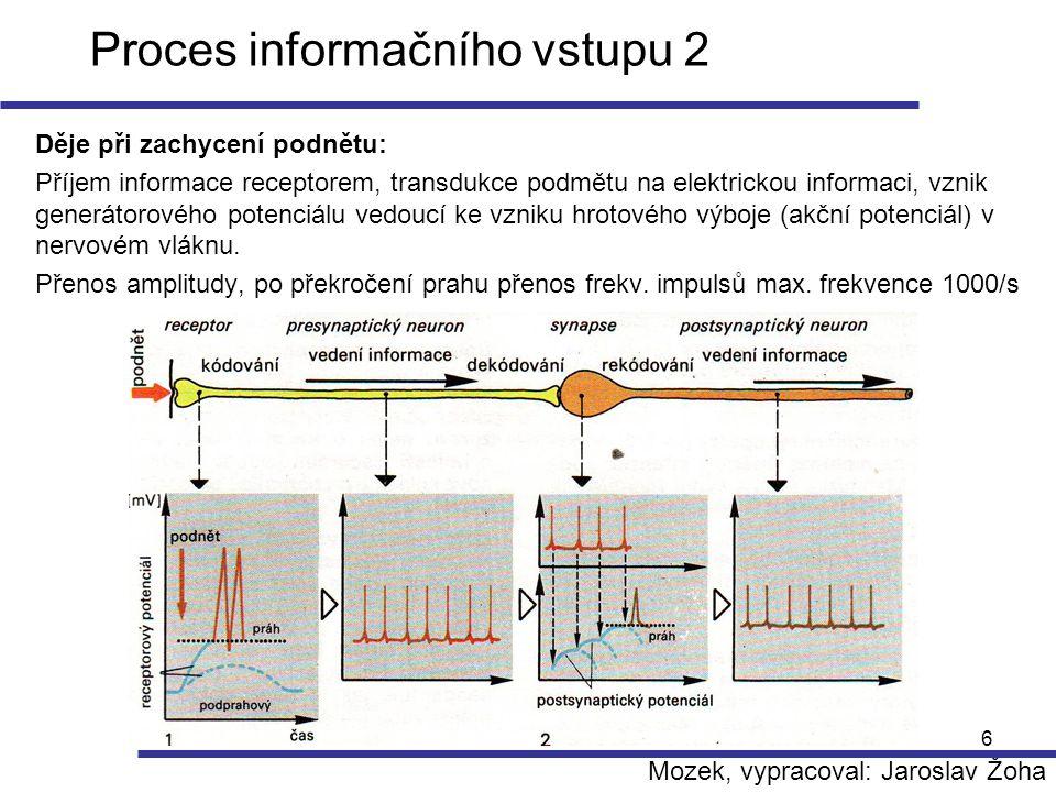 6 Proces informačního vstupu 2 Děje při zachycení podnětu: Příjem informace receptorem, transdukce podmětu na elektrickou informaci, vznik generátorov