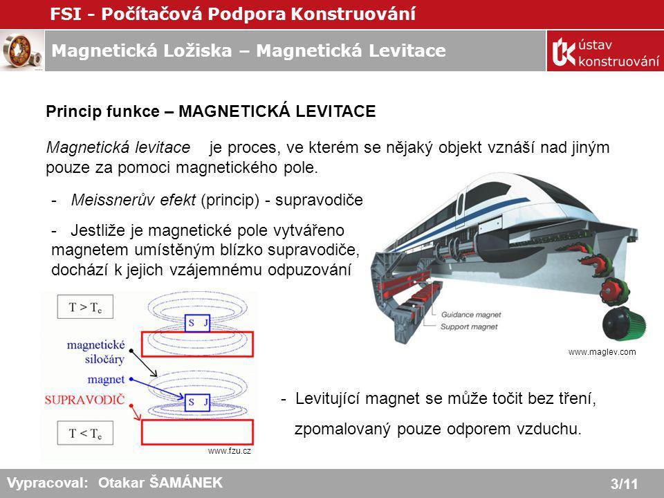 Magnetická Ložiska – Magnetická Levitace FSI - Počítačová Podpora Konstruování 4/11 Vypracoval: Otakar ŠAMÁNEK Elektromagnetická levitace – EMS,EDS EMS (Electro-Magnetic Suspension) = levitace přitahováním - založena na přitahování feromagnetického tělesa elektromagnetem - přitažlivá síla je buď větší nebo menší než je hmotnost tělesa - zpětnovazební regulace budícího proudu - zrušení nestability EDS (Electro-Dynamic Suspension) = levitace odpuzováním - princip odpuzování stejnosměrného elektromagnetu od pohybujícího se vodivého pásu (např.