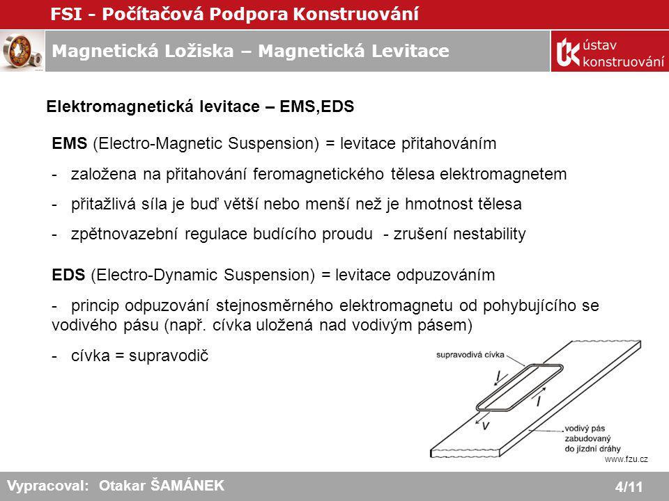 Magnetická Ložiska – Magnetická Levitace FSI - Počítačová Podpora Konstruování 4/11 Vypracoval: Otakar ŠAMÁNEK Elektromagnetická levitace – EMS,EDS EM