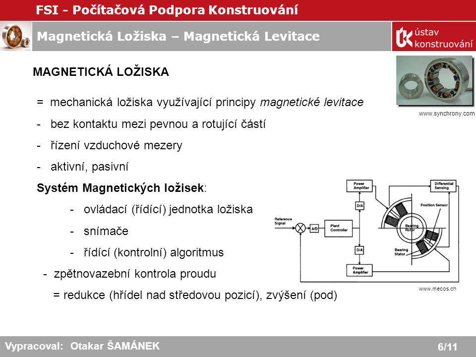 Magnetická Ložiska – Magnetická Levitace FSI - Počítačová Podpora Konstruování 7/11 Vypracoval: Otakar ŠAMÁNEK Aktivní magnetická ložiska - využívají přitažlivé síly - stabilní rovnováha je dosažena pomocí několika kontrolních smyček = zpětnovazební regulace budícího proudu Snímače 1-1´ a 3-3´ kontrolují 2 stupně volnosti rotoru: rotaci a translaci.