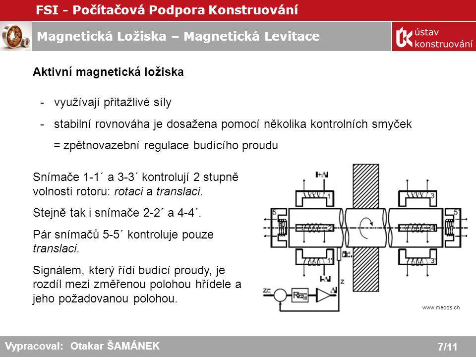 Magnetická Ložiska – Magnetická Levitace FSI - Počítačová Podpora Konstruování 8/11 Vypracoval: Otakar ŠAMÁNEK Radiální magnetické ložisko - podobá se elektromotoru - stator se skládá ze čtyř oddělených ovládacích jednotek (2 póly + navinutá cívka) - vzduchová mezera je zpravidla 0,5 až 2 mm Axiální magnetické ložisko - masivní ocelový kotouč - po obou stranách umístěn prstencový stator - stator může mít jedno nebo dvě vinutí - lze nahradit kuželovými (nepříliš velké axiální zatížení )