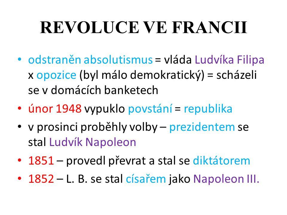 REVOLUCE VE FRANCII odstraněn absolutismus = vláda Ludvíka Filipa x opozice (byl málo demokratický) = scházeli se v domácích banketech únor 1948 vypuk