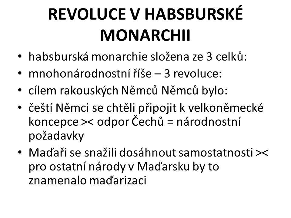 REVOLUCE V HABSBURSKÉ MONARCHII habsburská monarchie složena ze 3 celků: mnohonárodnostní říše – 3 revoluce: cílem rakouských Němců Němců bylo: čeští