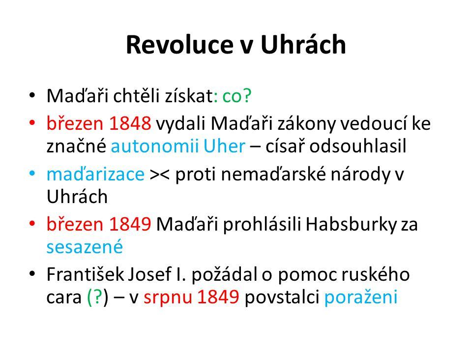 Revoluce v Uhrách Maďaři chtěli získat: co? březen 1848 vydali Maďaři zákony vedoucí ke značné autonomii Uher – císař odsouhlasil maďarizace >< proti