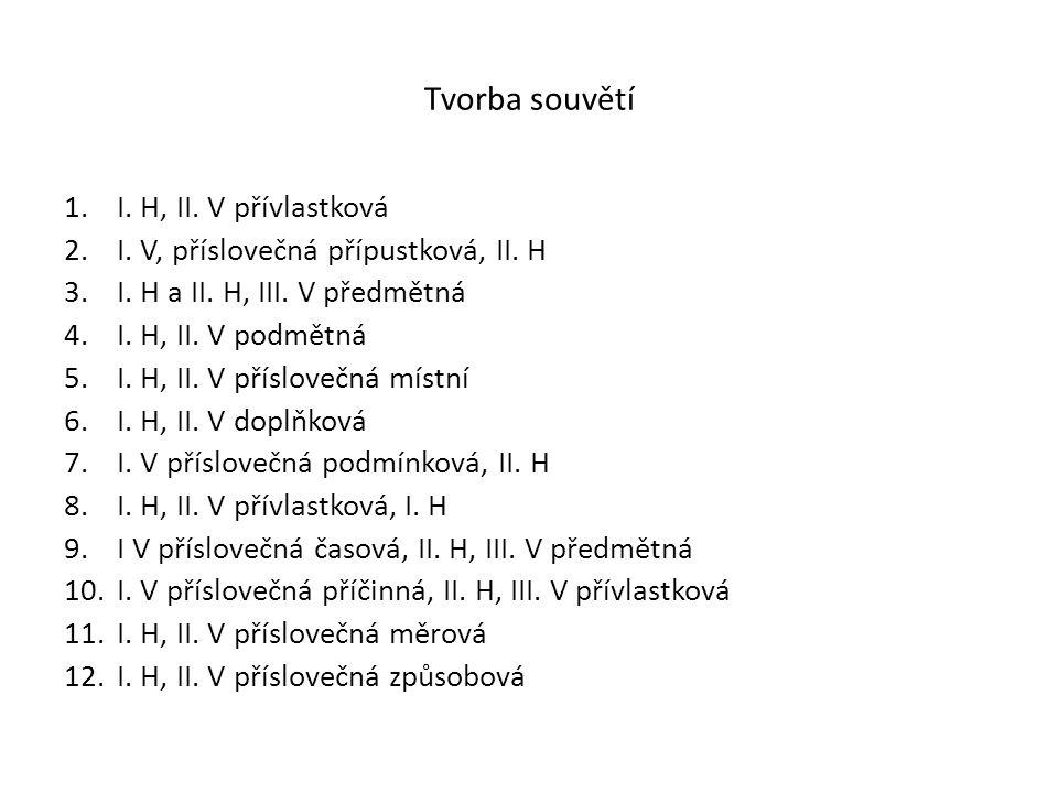 Tvorba souvětí 1.I. H, II. V přívlastková 2.I. V, příslovečná přípustková, II. H 3.I. H a II. H, III. V předmětná 4.I. H, II. V podmětná 5.I. H, II. V