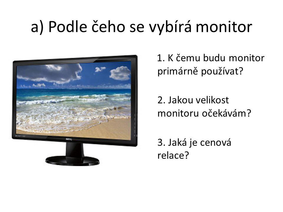 a) Podle čeho se vybírá monitor 1.K čemu budu monitor primárně používat.